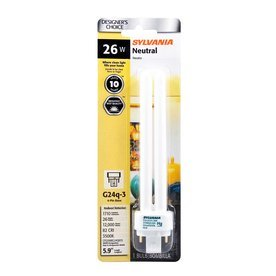 SYLVANIA 26-Watt (100W Equivalent) 3,500K Double Tube G24Q-2 Pin Base Bright White Dimmable CFL Bulb