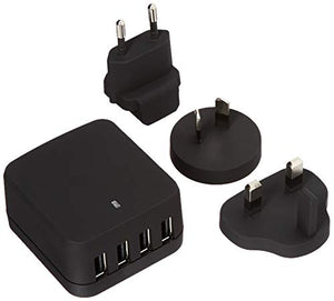 StarTech.com 4-Port Travel USB Wall Charger - 34W/6.8A International Travel Adapter - Portable USB Charging Station (USB4PACBK)
