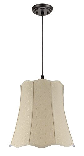 Aspen Creative Beige 74026 Two-Light Pendant with Scallop Bell Shaped (Spider) Shade, 14 x 20 x 20