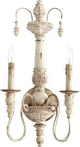 Quorum 5506 2 70 Traditional Two Light Wall Mount From Salento Collection In White Finish