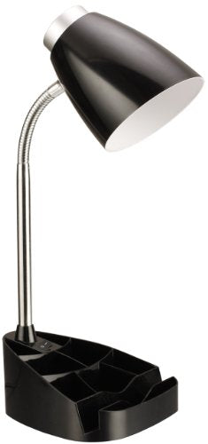 Limelights LD1002-BLK Gooseneck Organizer iPad Stand or Book Holder Desk Lamp, Black