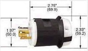 Power Entry Connector, 3P3W, Non-NEMA, Power Entry, 20 A, Black, White, Nylon (Polyamide) Body