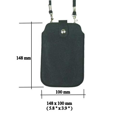 Leather Neck Pouch for Phone (Style 2) - Black