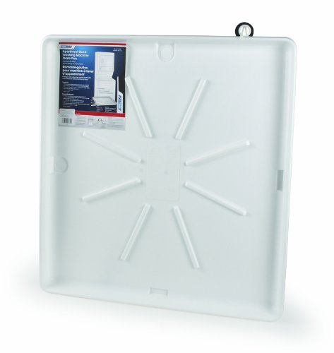 "Camco 20762 30""OD x 28"" Washing Machine Drain Pan for Stackable Units w/PVC Fitting (White) - Inner dimensions: 25""x27"""