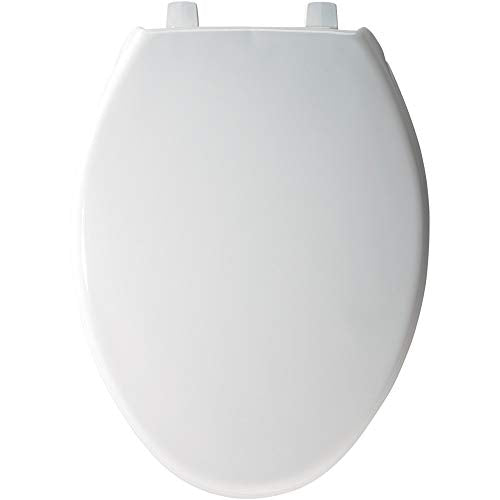 BEMIS 7800TJDG 000 Commercial Heavy Duty Closed Front Toilet Seat with Cover that will Lift for Easy Cleaning, Never Loosen & Reduce Call-backs, ELONGATED, Plastic, White