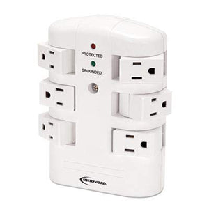 (3 Pack Value Bundle) IVR71651 Wall Mount Surge Protector, 6 Outlets, 2160 Joules, White