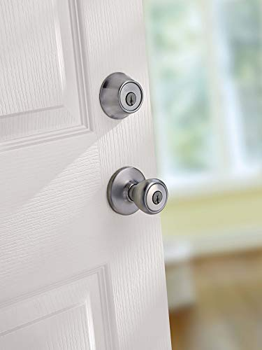 Kwikset 94002-761 Tylo Keyed Entry Knob Featuring SmartKey in Satin Nickel