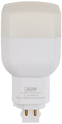 Feit Electric PL26E/V/841/LED 26W Equivalent 11.3 Watt PL Vertical Recessed, GX24Q-3 Base LED Light Bulb, 4.25