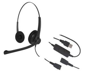 USB Training Headsets - Includes 2 Binaural Headsets with Detachable USB Cords, and one Y-Cord for training - GN/JABRA QD COMPATIBLE - Can use individually, or two on one computer with the Y-cord