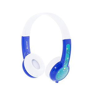 BuddyPhones Explore Non-Foldable, Volume-Limiting Kids Headphones, Built-in Audio Sharing Cable with in-Line Mic, Compatible with Fire, iPad, iPhone, and Android Devices, Blue