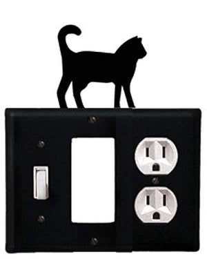Village Wrought Iron ESGO-6 8 Inch Cat - Single Switch, GFI and Outlet Cover, Black