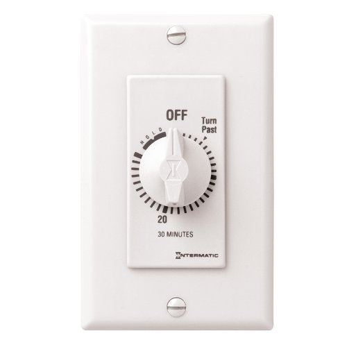 Intermatic FD30MHW 30-Minute Spring-Loaded Wall Timer for Lights and Fans, White