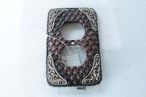 Western Cowboy Rustic Woven Leather Look Silver Accents Switch Plate Covers Electric Western Decor (Electric Outlet)