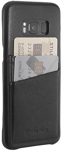 StilGut Back-Cover for Samsung Galaxy S8, Genuine Leather Skin with Card Slot, Black Nappa