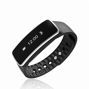 Bluetooth Wireless Smart Bracelet with Sleep Monitor Pedometer Calorie Counter Fitness Tracker for Android and iOS Smartphones (Black)