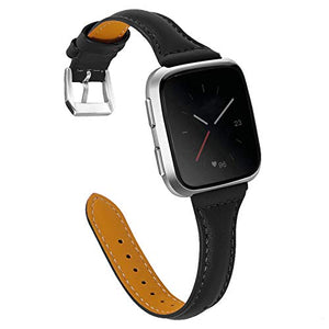 Joyozy Genuine Leather Bands Compatible with Fitbit Versa&Fitbit Versa 2 &Fitbit Versa SE&New Fitbit Versa Lite Smartwatch,Replacement for Accessories Fitness Strap Women Men(5.5