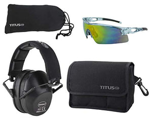 TITUS Top Combos: Safety Earmuffs & Glasses (Black - Slim, Z87.1 Full-Spectrum All-Sport)
