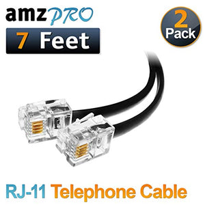(2 Pack) 7 Feet Black Telephone Cable RJ11 Male to Male 84 inch Phone Line Cord