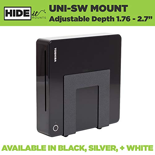 HIDEit Uni-SW (Black) Mount - Adjustable Small + Wide Device Wall Mount for Cable Boxes, Wireless Routers, Media Players, Modems and More - Made in the USA and Trusted Worldwide Since 2009