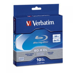 VER97335-Disc Blu-ray Dual Layer 50GB 6X Branded 10pk Spindle by Verbatim
