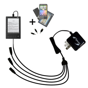 Quad 4-Port Wall Charger with Included tip for The HanLin eBook eBook V2 V3 V5 a Compact Design with flip Out prongs - Uses TipExchange Technology to Charge up to Four Devices simultaneously