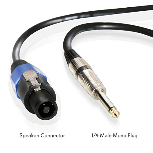 "Speakon to 1/4"" Audio Cord - Speakon Connector to 1/4 Inch Male Connection 30 ft 12 Gauge Black Heavy Duty Professional Speaker Cable Wire - Delivers Sound - Pyle Pro PPSJ30"