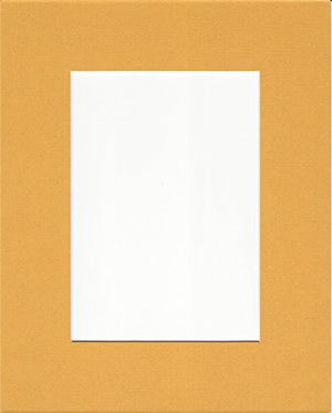 Pack of 5 8x10 Sun Yellow Picture Mats with White Core for 5x7 Pictures