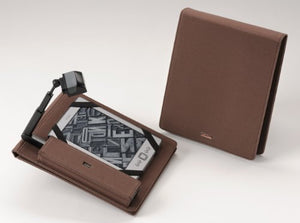 Periscope Flip Cover+Light for Kindle Wi-Fi, Kindle Touch, nook Simple Touch and Sony PRS-T1 in Brown Microfiber fabric