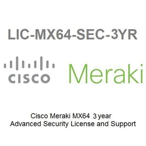 Meraki MX64 Advanced Security License and Support, 3 Years, Electronic Delivery