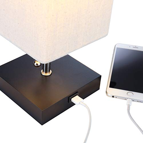 Brightech Grace LED USB Bedside Table & Desk Lamp - Modern Lamp with Soft, Ambient Light, Unique Lampshade & Functional USB Port - Perfect for Table in Bedroom, Living Room, or Office - Black