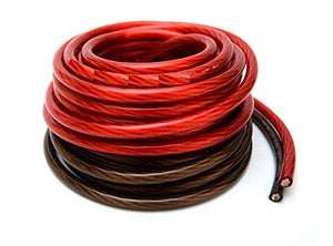 8 Gauge 25' Black and 25' RED Car Audio Power Ground Wire Cable 50' ft Total