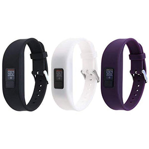 HWHMH Replacement Secure Band with Chrome Watch Clasp and Fastener Buckle for Garmin Vivofit 3 - Black&White&Purple