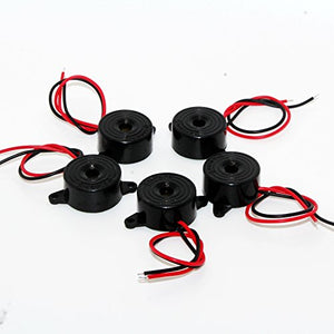 DIKAVS 5Pcs 3-24V Small Enclosed Piezo Electronic Buzzer Alarm 95DB w/Wires