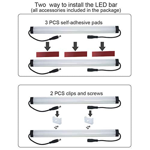 Litever Under Cabinet LED Light Bar Kits Plug in 3 pcs 12 inches Light Bars per Set Warm White 3000K 20W 1100 Lumen Dimmable for Kitchen Cabinets Counters Bookcases (3 Bars Kit-3000K)