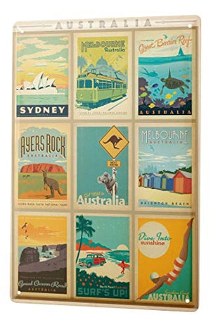 LEotiE SINCE 2004 Tin Sign Metal Plate Decorative Sign Home Decor Plaques World Trip Australia Attractions Collection Decorative Wall Plate 8X12