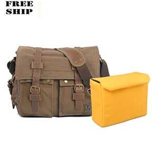 Camera Bag Leather Vintage Canvas Messenger Shoulder Canon Nikon Dslr Slr Coffee