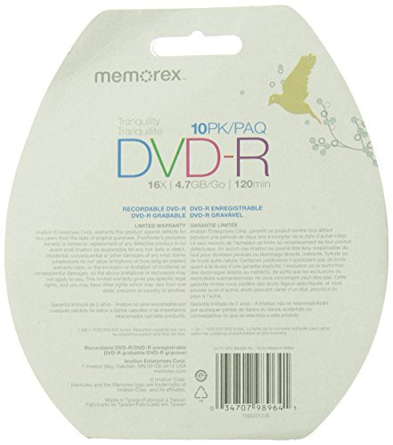Memorex 4.7GB 16X DVD-R, 10 Pack Blister (32020033968)
