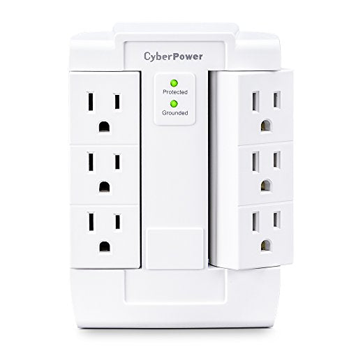 Cyber Power Csb600 Ws Surge Protector, 900 J/125 V, 6 Swivel Outlets, Wall Tap, White