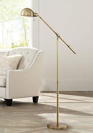 Dawson Modern Pharmacy Floor Lamp Antique Brass Adjustable Boom Arm And Head For Living Room Reading