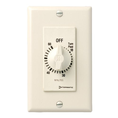 Intermatic FD60MAC 60-Minute Spring-Loaded Wall Timer for Lights and Fans, Almond