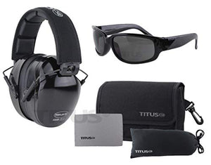 Titus Triple Black B4-26/32 NRR Noise Reduction Hearing Protection & Classic Style Safety Glasses Combos (26db Premium Headband, Smoke)
