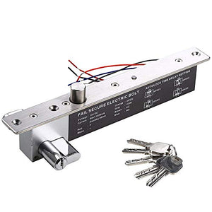 UHPPOTE 12VDC Electric Drop Bolt Lock Key Open Fail Secure W/Cylinder Time Delay