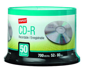 Staples 50/Pack 700MB CD-R, Spindle