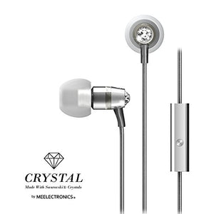 Crystal by MEE audio In-Ear Headphones with Microphone Made with Swarovski Crystals, Silver