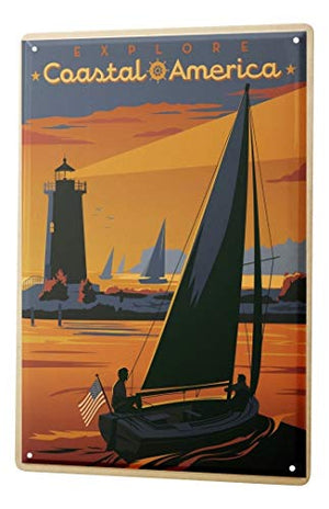 LEotiE SINCE 2004 Tin Sign Metal Plate Decorative Sign Home Decor Plaques World Trip America Coastal Sailboat Lighthouse Decorative Wall Plate 8X12