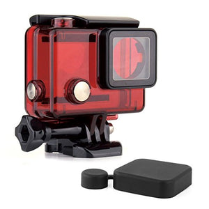SOONSUN Standard Protective Waterproof Dive Housing Case for GoPro Hero 4, 3+, 3, Hero3, Hero4 Black Silver Camera - Up to 40 Meters (131 feet) Underwater -Transparent Red