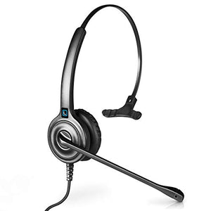 Leitner LH240 Corded Office Telephone Headset with Noise Cancelling Microphone - Includes a 5-Year Warranty