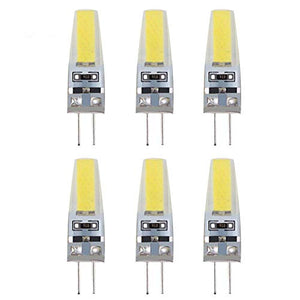 2 Watt G4 LED 12V AC/DC Bi-Pin Light Bulb Warm White 3000K Waterproof T3 G4 Halogen 10W Led Replacement - Pack of 6