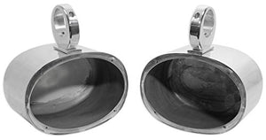 Pair Rockville 6x9 Polished Silver Aluminum Wakeboard Tower Speaker Enclosures