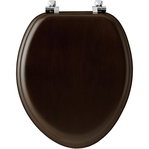 Mayfair 19601 Cp 888 Toilet Seat With Chrome Hinges, Elongated, Walnut Veneer